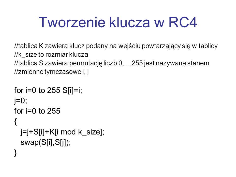 Tworzenie klucza w RC4 for i=0 to 255 S[i]=i; j=0; for i=0 to 255 {